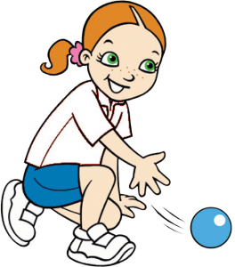 girl rolling ball